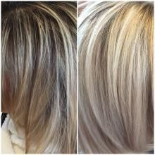 """""""Sharon came in with a natural level 4/5 with 50 percent grey,"""" says Allie Villa (@allievilla) of Mimi's Salon, Belmar, NJ. """"The bottom portion of her hair, and a little throughout, was more gold and she just wasn't happy. She showed me a ton of pictures with white blonde hair and said didn't want to see anymore brass. We did the following and were both thrilled!"""": Step 1: Balayage the hair with Artego Balayage bleach blended with 40 volume developer and a bond builder."""