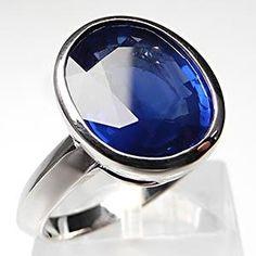 Bezel Set Natural Blue Sapphire Solitaire Engagement Ring Solid 18K White Gold - EraGem