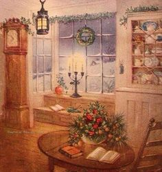 Now this is a cozy setting. Old Time Christmas, Christmas Scenes, Old Fashioned Christmas, Magical Christmas, Christmas Past, Christmas Holidays, Xmas, Vintage Christmas Images, Christmas Pictures