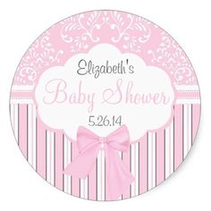 Vintage Damask and Stripes-Pink Baby Shower Stickers