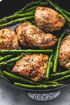 This 20 minute one pan garlic herb chicken and asparagus is full of rich, buttery herb flavors with both chicken and asparagus all cooked in one skillet.