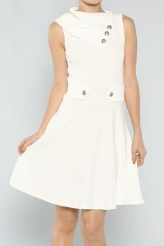 Collar Flared Dress  #wholesale #clothing #fashion #neutral #winterwhite #winter #white #love #ootd #wiwt #shorts #skirts #dresses #tanks #tops #pants #jackets #outerwear #trousers #leggings