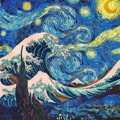 The Great Wave Off Kanagawa (Katsushika Hokusai) meets The Starry Night (Vincent Van Gogh) Vincent Van Gogh, Arte Dope, Van Gogh Art, Art Van, Great Wave Off Kanagawa, Art Japonais, Hippie Art, Art Plastique, Oeuvre D'art