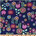 Timeless Treasures Elephant Showers Navy - Discount Designer Fabric - Fabric.com