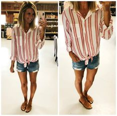 Tie Front Button Up Shirt // Summer Outfit Inspiration // How to Tie a Button Up Shirt // Button Up Shirt with Distressed Shorts and Slide Sandals // Sam Edelman Sandals // Comfortable under $100 Sandals // Summer Fashion #ShopStyle #tiefronttop #tiefrontbuttonupshirt #summeroutfitinspiration #howtotieabuttonupshirt #howtotieatop #distressedshorts #slidesandals #samedelmansandals #comfortablesandals #summerfashion #ootd
