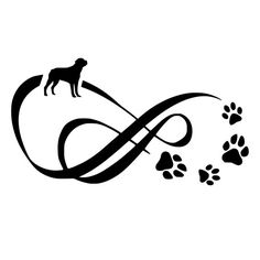 Rottweiler Infinity With Paw Prints Die-Cut by BeeMountainGraphics