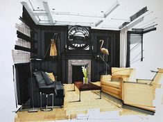 Home Decoration Design Ideas Drawing Interior, Interior Design Sketches, Interior Rendering, Sketch Design, Interior Design Tips, Interior Paint, Interior And Exterior, Cafe Interior, Design Ideas