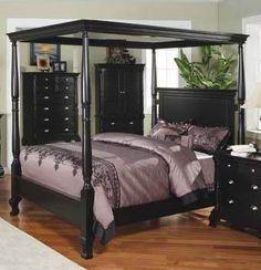 Manhattan Canopy Bed in Ebony Finish