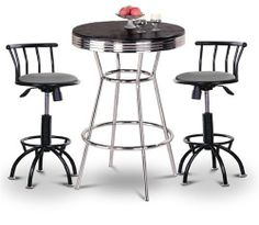 """Chrome Bar Table & 2 Black Adjustable 24""""-29"""" Gray Vinyl Seat Barstools by The Furniture Cove. $378.88. 3 Piece Set includes Table and 2 24""""-29"""" Bar Stools. Black Metal Finish Stools. 24"""" to 29"""" Adjustable Seat Height. Swivel Seat. Gray Vinyl Seat. This table stands 41 3/4"""" tall and is 30"""" in diameter. Notice the """"foot bar"""" for resting your feet. It is metal chrome with a chrome trim. The top is a nice hardwood which will last a long time. We also have this table in white..."""