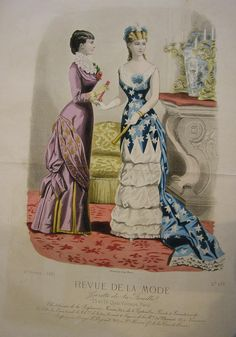 Day and Fancy Dress Costumes, 1881 Skirts collapsed in the late and remained slim and figure-fitted until the early Here we see more focus on lacing corsets more tightly, since illusion. Historical Art, Historical Costume, Historical Clothing, 1870s Fashion, Edwardian Fashion, Vintage Fashion, Fancy Dress Ball, Patriotic Dresses, Victorian Valentines