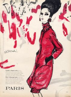 René Bouché 1959 Christian Dior Indian Rajah Coat and Dress