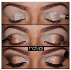 Silver and Bronze eye make-up -- Party makeup ideas Beautiful Eye Makeup, Love Makeup, Makeup Tips, Makeup Looks, Makeup Ideas, Beautiful Eyes, Makeup Tutorials, Pretty Eyes, Makeup Inspo