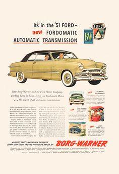 FORD CAR AD - Retro Car Ad - Vintage Classic Car Ad Mid-Century Poster Garage…