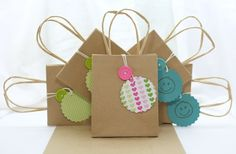 ButtonTie Paper Gift Bags Set of Five 5.5 x 4.5 x by Beigetone