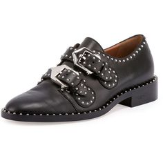 Givenchy Elegant Studded Double-Monk Oxford (22,390 MXN) ❤ liked on Polyvore featuring shoes, oxfords, black, shoes loafers, black oxfords, oxford shoes, leather oxfords, leather oxford shoes and flat shoes