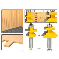 Shank Tongue and Groove Joint Assembly Router Bit Set Woodworking Milling Cutter Home Hand Tool Manual Milling Machine Woodworking Saws, Woodworking Supplies, Woodworking Projects, Carpentry, Wood Projects, Dremel, Tongue And Groove, Cabinet Door Router Bits, Raised Panel Cabinet Doors