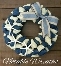 Check out this item in my Etsy shop https://www.etsy.com/listing/449773086/navy-and-cream-wreath-nautical-wreath