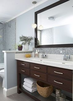 rachel reider interior designs vanity open on bottom shower bathroom trough sink
