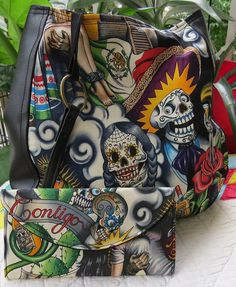 Sugar Skull Multi Purse Over the Shoulder Purse by CanaryCreated