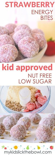 Healthy strawberry energy bites! Perfect for breakfast or as a healthy snack for kids. Nut free and low sugar. Also great for the lunchbox!