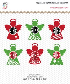 Angel Monogram Christmas Ornament SVG DXF PNG eps Vinyl winter christmas new year holy decal Cricut Silhouette studio, Instant Download by SvgCutArt on Etsy