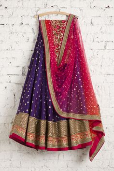 SMF LEH 224 17 Violet lehenga with shocking pink badla dupatta and floral threadwork blouse