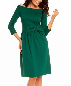 Look at this Nommo Green Off-Shoulder Dress on #zulily today!