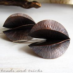 Foldformed copper and sterling silver earrings | Handmade by Beads and Tricks
