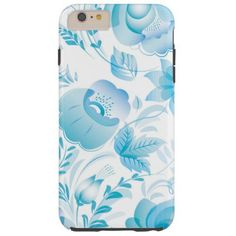 Chic Stylish Pretty Girly Blue Floral Pattern Tough iPhone 6 Plus Case - girly gifts special unique gift idea custom