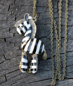 Large Vintage Zebra Pendent with Moving by Gener8tionsCre8tions, $60.00