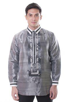 Barong Warehouse - Organza Pina Barong Tagalog with Black Lining 002 Barong Tagalog, Filipino Wedding, Groom Outfit, Groom Attire, Filipino Culture, Wedding Suits, Wedding Groom, Wedding Cake, Bride And Groom Gifts