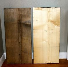 """DIY weathered wood with tea and apple cider vinegar. Another pinner says """"Tried this and it definitely worked. Had to do two 'coats' but it looks great."""""""