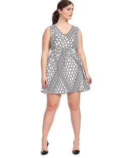 Zig-Zag Dress In Black & White -- wish it was a few inches longer