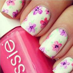 essie, flowers, nail art, nail polish