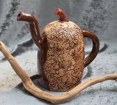 Ceramic teapot.  Handmade  stoneware woodland teapot. Hand built ceramics. Ceramic Pottery.