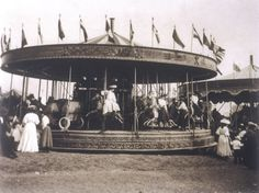 All the fun of the fair. This is a steam-driven roundabout at the fair on Hampstead Heath in London.