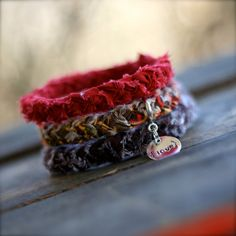 MAPLE LEAVES Braided Fabric Bracelet with by theadoptshoppe, $18.00
