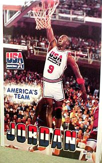 Rare Michael Jordan USA OLYMPICS DREAM TEAM 1992 Vintage Action Poster - Sold for $19.99 August 2013