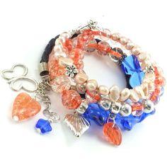 Bransoletki ze szklanych koralików, skóry i pereł naturalnych w brzoskwiniowo kobaltowej odsłonie. Bracelets, Jewelry, Bangle Bracelets, Jewellery Making, Jewerly, Jewelery, Jewels, Bracelet, Jewlery