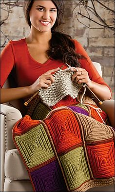 All Squared Away by Beth Whiteside Creative Knitting Autumn 2013 All blocks are worked from, center out to edge.