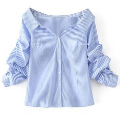 Off Shoulder Single Breasted Blouse (€18) ❤ liked on Polyvore featuring tops, blouses, shirts, blusas, blue button-down shirts, button blouse, off the shoulder shirts, long blue shirt and cotton button shirt