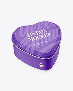 Heart-Shape Matte Tin Box Mockup