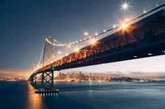Photographic Print: Divine Blue Cityscape, San Francisco Bay Bridge at Night by Vincent James : 24x16in