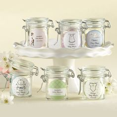 Personalized Glass Baby Shower Favor Jars by Beau-coup