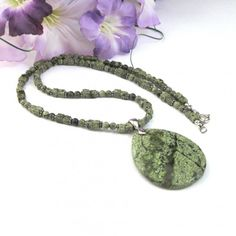 SALE GOING ON! Large Dark Green Oval Russian Serpentine Gemstone Pendant Necklace | TheSingingBeader -  on ArtFire