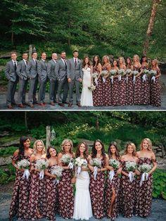 floral bridesmaid dresses @weddingchicks                                                                                                                                                      More
