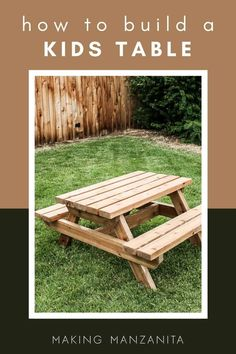 What's summer without a picnic or two with the kiddos? Read how to build a little kids picnic table for your backyard summer vacation (and get FREE plans)! #backyard #kids #table #tableplans #outdoortable Toddler Picnic Table, Kids Picnic Table Plans, Diy Projects Using Wood, Woodworking Projects Diy, Craft Projects, Wooden Picnic Tables, Outdoor Picnic Tables, Kid Table, Build A Table