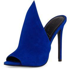 Kendall + Kylie Essie Peaked Suede Mule Pump (218 AUD) ❤ liked on Polyvore featuring shoes, pumps, heels, high heels, scarpe, medium blue, high heel shoes, blue open toe pumps, blue pumps and heeled mules