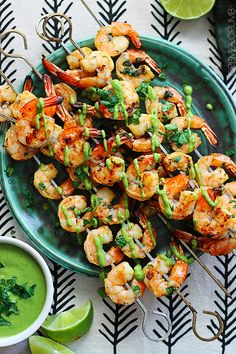 Grilled Cilantro Lime Shrimp with Roasted Poblano Sauce