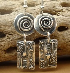 Upside Down Dangles - PMC Earrings - Fine Silver Dangles - Cottage Chic. $36.00, via Etsy.